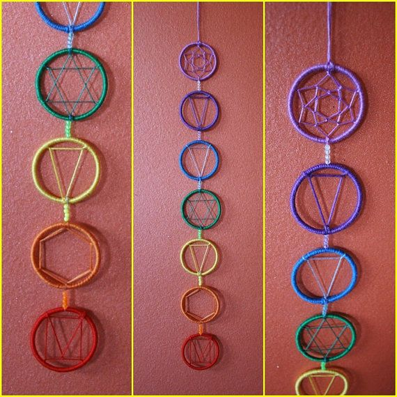 Chakras Dreamcatcher For Decoration van PsyFlyDecoration op Etsy, €28.00