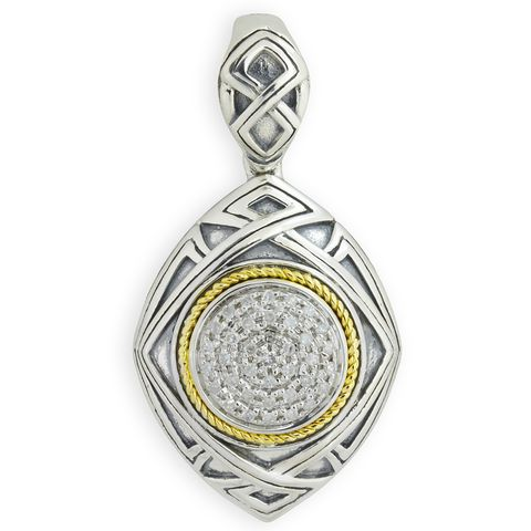 Diamond Sterling Silver Pendant with 18K Gold Accents | Cirque Jewels