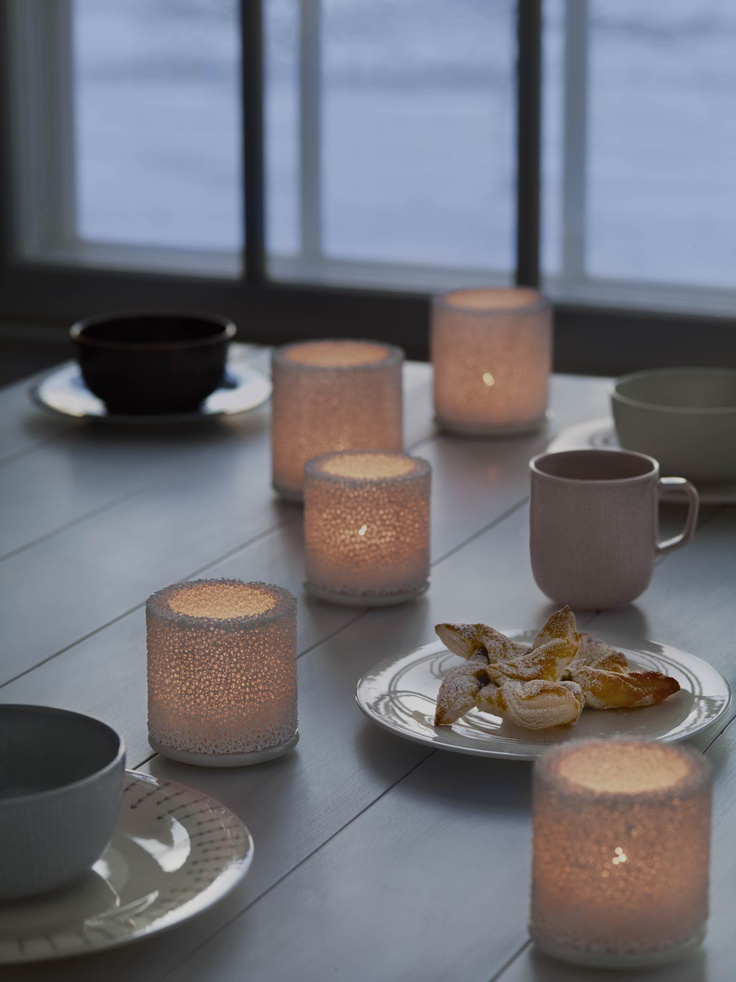 Go back to basics with the wintery votive, Fire. Designer Nathalie Lahdenmäki got her inspiration for it from the Finnish way of making your own ice lantern outside. Mix it with another modern take on tradition, Sarjaton. Together they create a calm atmosphere, a moment to focus on the things that matter.    www.iittala.com