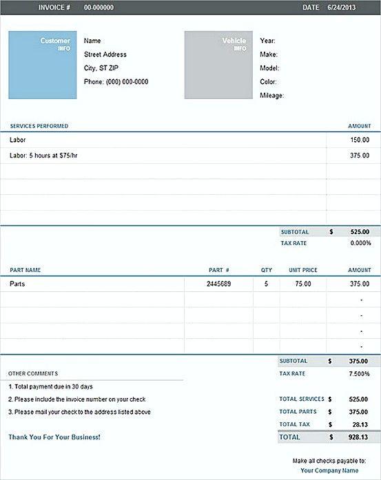 Pin Di Invoice Template
