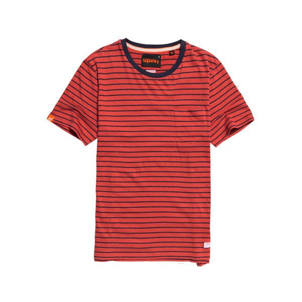 Superdry Lite Loom City Pocket T-shirt (67 RON) ❤ liked on Polyvore featuring men's fashion, men's clothing, men's shirts, men's t-shirts, red, mens red shirt, mens short sleeve t shirts, mens striped short sleeve shirt, mens french cuff shirts and mens crew neck t shirts
