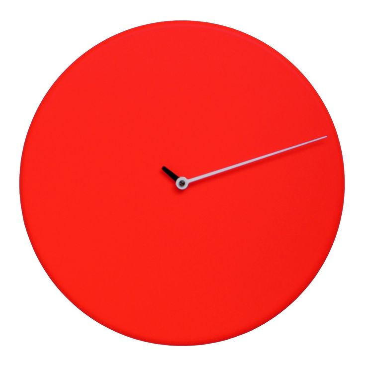 gorgeously simplistic highend modern designer circular red analog wall mounted clock with light grey