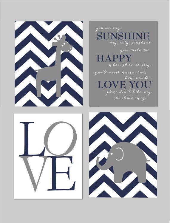 "Navy and Gray Nursery You Are My Sunshine Elephant Giraffe Love Chevron Prints - Art for Nursery - Set of four 8""x10"" prints"