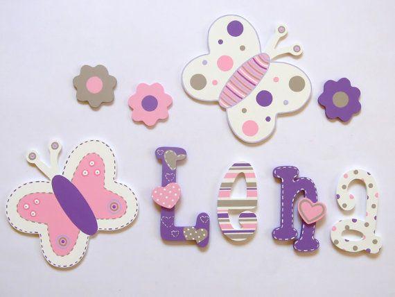Pintadas con letras de madera colorido; nombre de los niños; nombre de bebé; Letras de pared, Letras de madera; decoración de la habitación de los niños; lunares, rayas, corazones