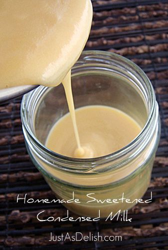 Sweetened Condensed Milk Recipe 1 liter milk 1 cup granulated sugar -greatly reduced from the recipes I found online (can also use brown sugar) 1 tablespoon butter (Optional – to thicken the milk)