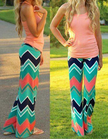 Stylish Mid-Waisted Wave Print Loose-Fitting Women's Exumas Pants Pants | RoseGal.com Mobile
