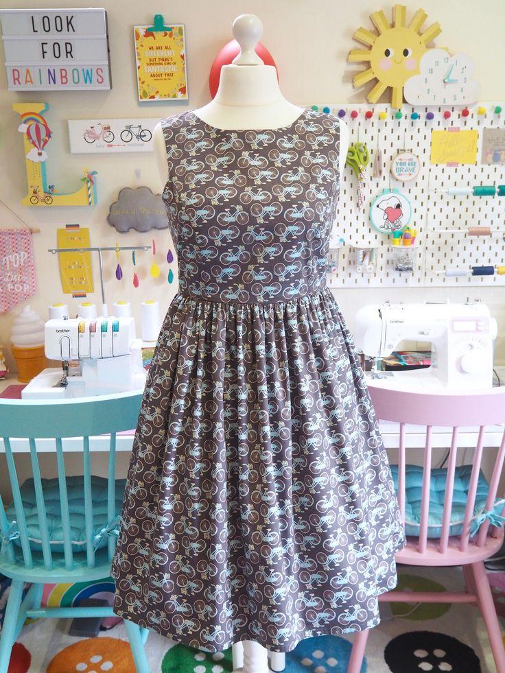 Made to Order Bike Print Dress - Ladies Handmade Dress