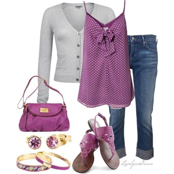 I like the purplish color of the top and shoes.  I am a big fan of camis with button up sweaters paired with jeans.  I think the sandals are totally cute.  Earrings, purse and bracelets are a bit much though.