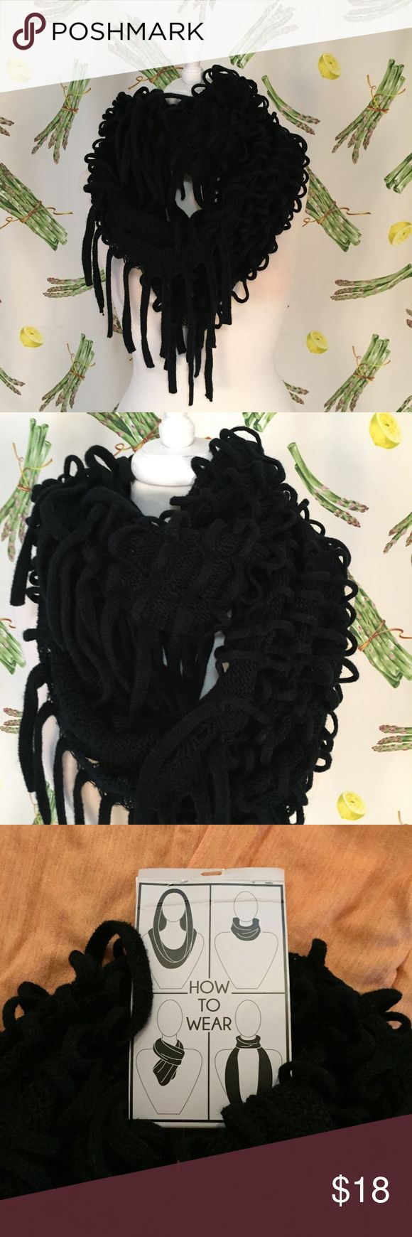 """Fantas-Eyes Infinity Knitted Scarf with Tassles Brand: Fantas-Eyes Size: OS Description: Infinity Style scarf, knitted fabric Condition: NWT Length: 42"""" Width: 25"""" Item #1785 Bundle Discount Available! Reasonable offers welcome! No trades please.. Thanks for stopping by!! #Poshmark #Poshmarkapp #Poshmarkcloset Fantas-Eyes Accessories Scarves & Wraps"""