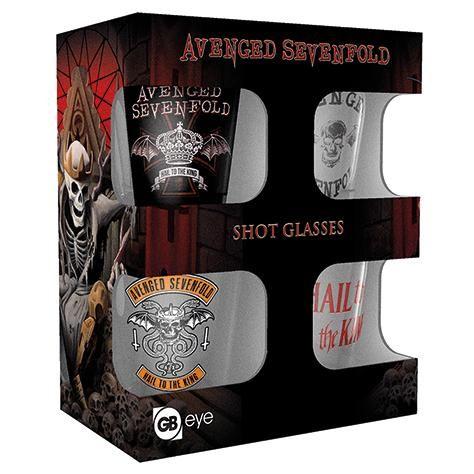 Set di 4 bicchierini degli #AvengedSevenfold con stampa differenti. Capienza: 60 ml l'uno.