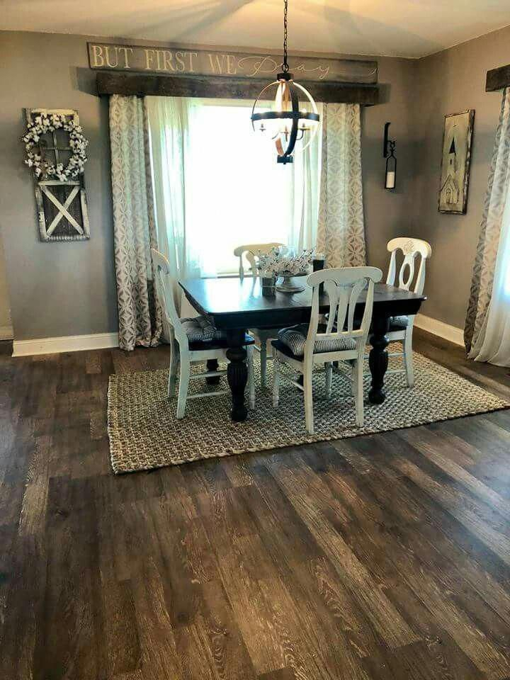 [I love The board above the sliding door!] Dining room farmhouse decor