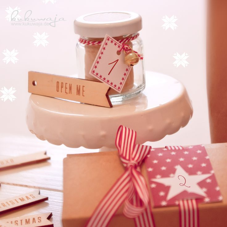 DIY Adventskalenderzahlen (DIY Bastelbogen oder als Stempel) / Holzanhänger und Adventskalender in Minigläsern - alles erhältlich im kukuwaja Shop