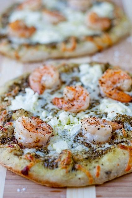 Shrimp and Pesto Pizza with Goat Cheese.