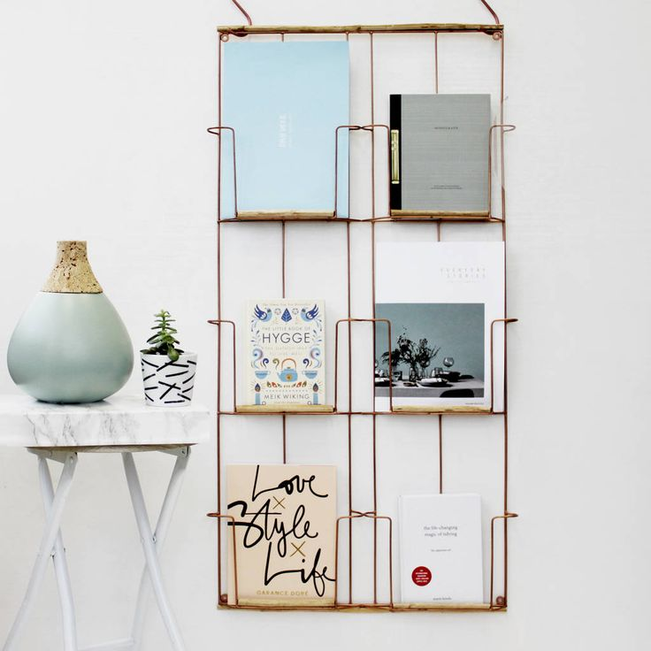 antique copper wall mounted magazine rack by posh totty designs interiors | notonthehighstreet.com