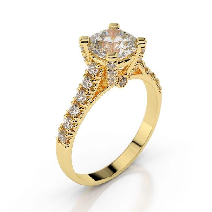 Diamantring - 1.00 Karat Diamanten D/VS2 - 585/14K Gelbgold für nur 1699 Euro.  #diamantring #weissgold #gelbgold #weisse_diamanten #verlobung #juwelier #abt #dortmund #karat