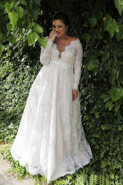 Discount Garden A Line Empire Waist Lace Plus Size Wedding Dress With Long Sleeves Sexy Long Wedding Dress For Plus Size Wedding NADPW006 Wedding Dresses Simple Wedding Dresses Under 300 From Andybridaldress, $200.0| DHgate.Com