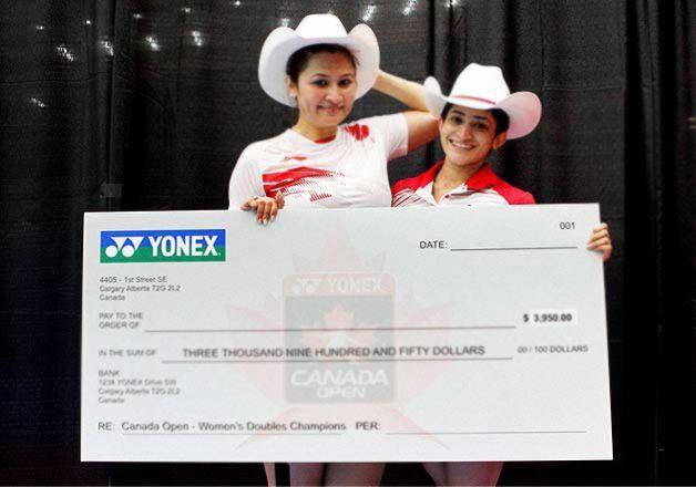 Indian shuttlers #JwalaGutta and #AshwiniPonnappa wins #CanadaOpen Grand Prix.