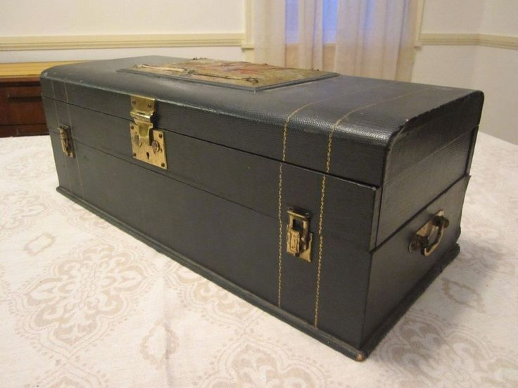 Antique Silverware Storage Trunk Chest by 1847 Rogers Bros Holds Service for 12 #1847RogersBros