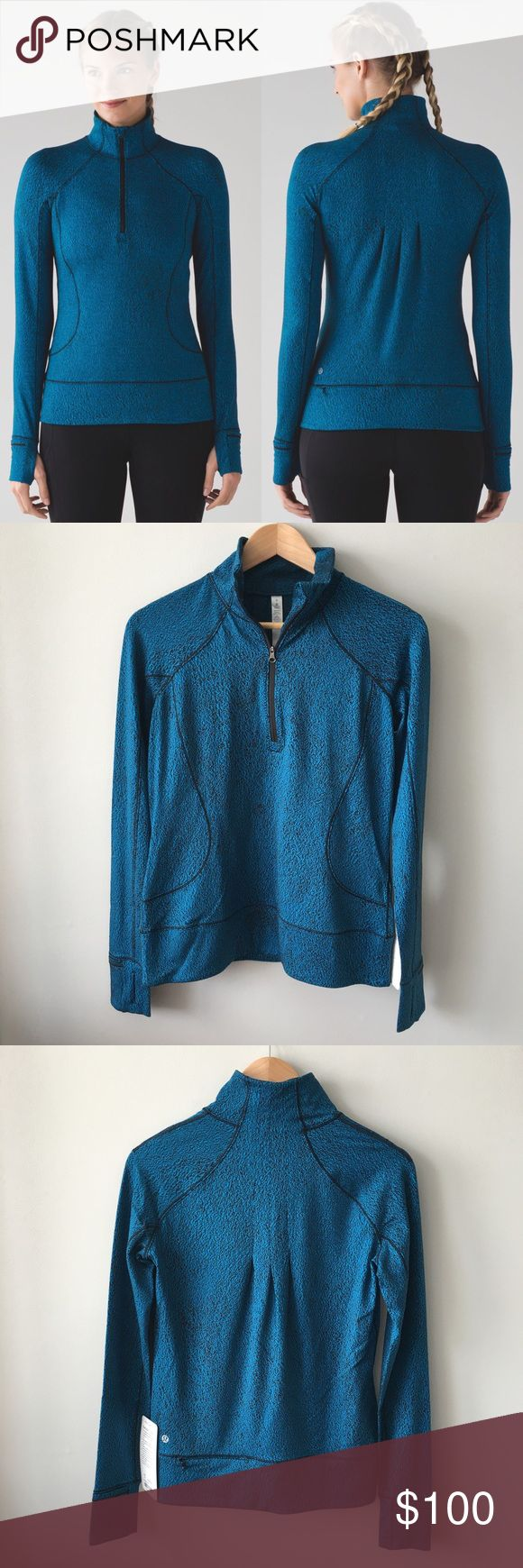 🍋 Lululemon Rush Hour 1/2 Zip New with tags, Lululemon Rush Hour 1/2 Zip in Spray Jacquard Shocking Blue. Super soft rulu & cuffins. More details on last photo. PRICE FIRM unless bundled. Bundle & save 💰! Sorry - 🚫 trades! lululemon athletica Tops