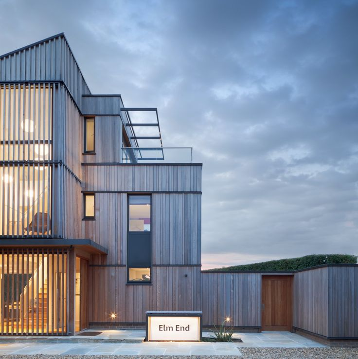 private house on the North Norfolk coast  Cedar boarding and slatted brise soleil/sun shading