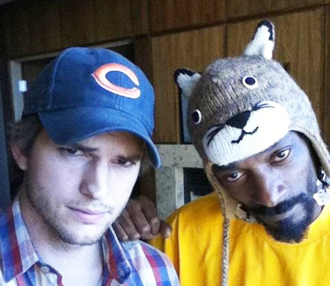[ Ashton Kutcher and Snoop Lion wearing a Knitwits™ Original Hat. ]