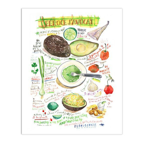 Féroce d'avocat - French West Indies recipe print - Watercolor