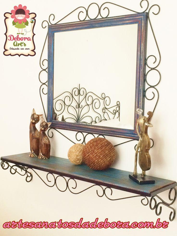 Espelho + aparador www.artesanatosdadebora.com.br
