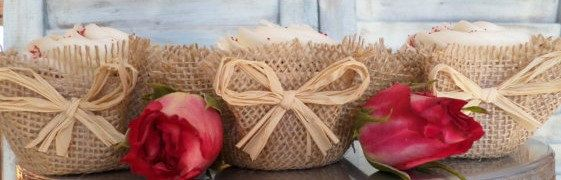 Burlap  Cupcake Wrappers FaVoRs Unique Fabric by ThreeTwigsDesigns