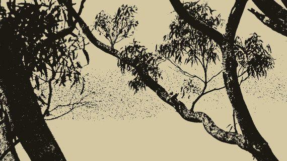 Rough Sketch Eucalypt Outline by BlackbirdArtDesign on Etsy, $35.00