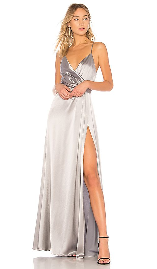 d3059a32417 Shop for JILL JILL STUART Metallic Wrap Gown in Silver Grey at REVOLVE.  Free 2-3 day shipping and returns