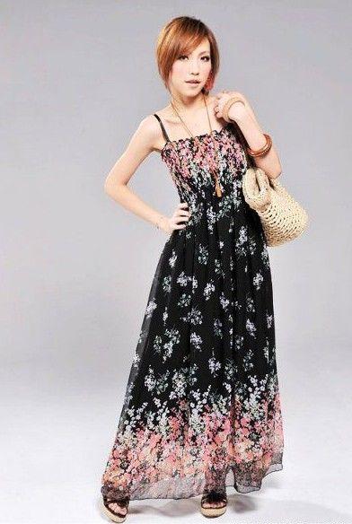 Fashion and Delicate Spaghetti Strap Long Dress - Thumbnail 3