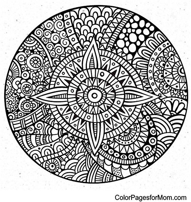 Doodle Zentangle Inspired ZIA Mandala Coloring Page 34