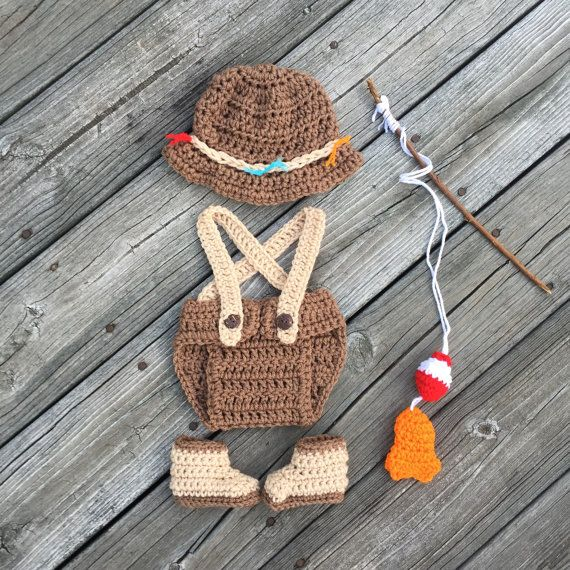 Crochet Newborn Fishing Outfit Fly Fishing Hat by HandcraftedLoot