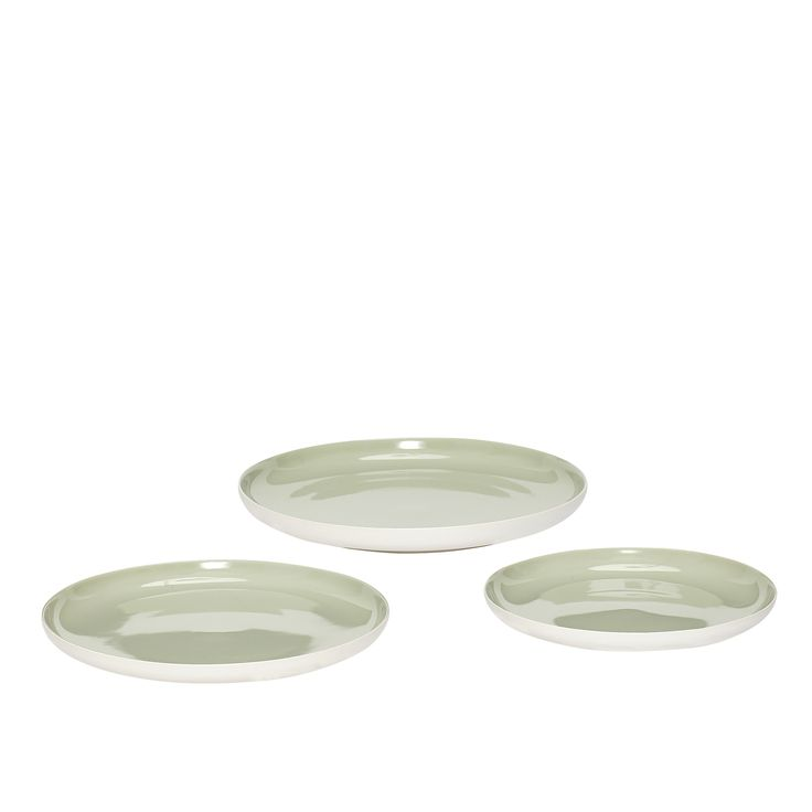 Green and white porcelain plates. Product number: 719014 - Designed by Hübsch