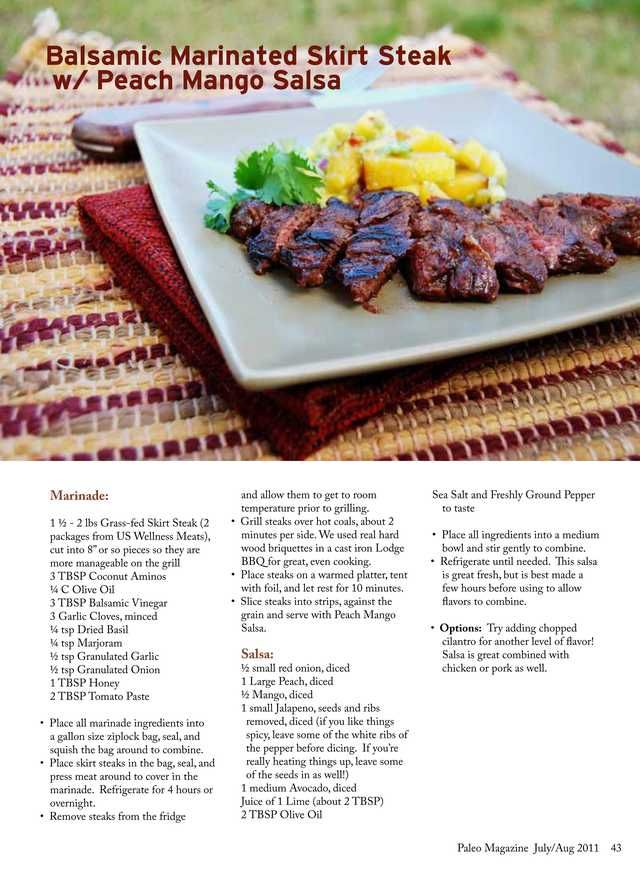 Balsamic Marinated Skirt Steak with Peach Mango Salsa