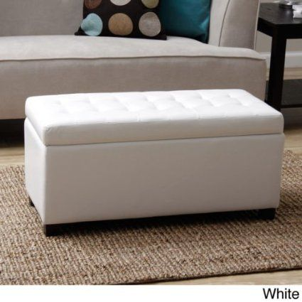 Tiffany Malm Storage Bench. This Furniture Storage Bench Is A Convenient Seating Solution For Any Room In Your Home. Each Storage Ottoman Features A Quilted Faux Leather Design And Ample Space To Complete Any Living Room Furniture Arrangement. (White)