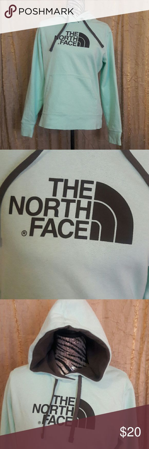 North Face sweat shirt Size medium mint green North Face hooded sweatshirt. Has a pocket. 80% cotton and 20% polyester. Wash inside out. North Face Tops Sweatshirts & Hoodies