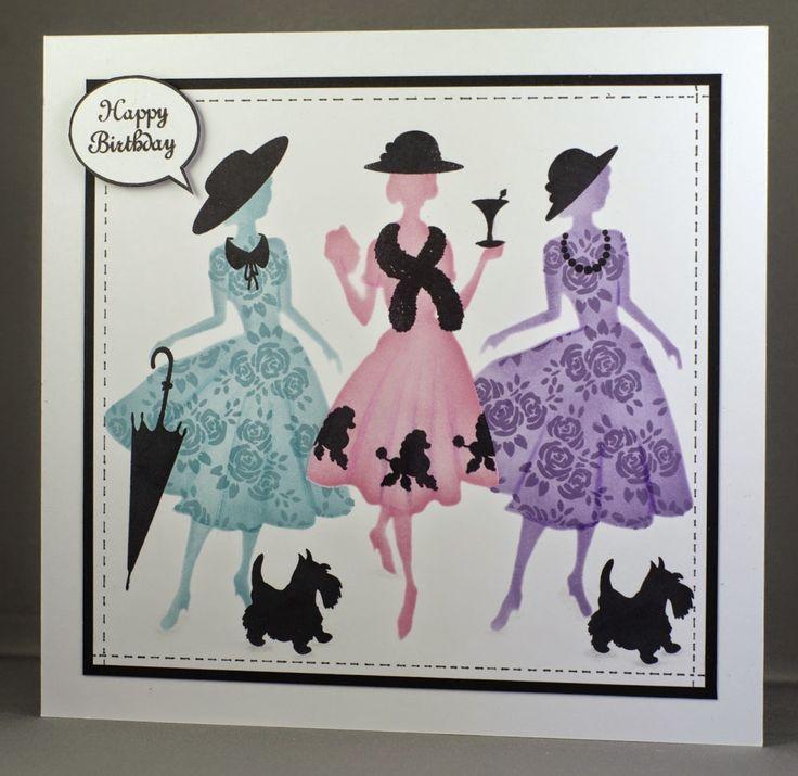 Partying Elegant Ladies card. Claritystamp Elegant Ladies stencils and stamps.