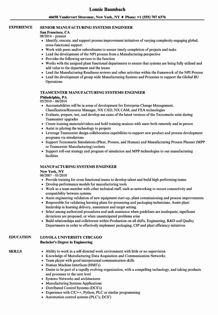 System Engineering Resume Examples Luxury Manufacturing