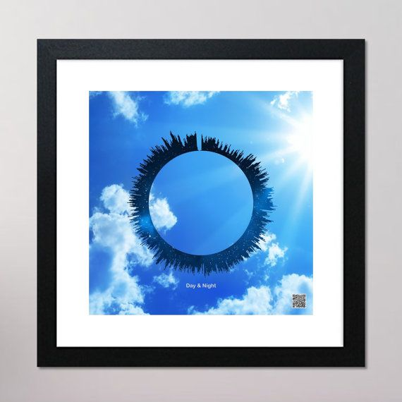 Day & Night Circular Sound Wave Framed Print With Contactless Playback Option 440mm x 440mm