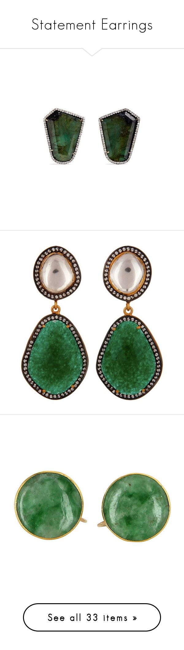 """Statement Earrings"" by nightmaregrl ❤ liked on Polyvore featuring jewelry, earrings, metallic, diamond jewellery, 18k white gold earrings, white gold diamond earrings, white gold jewellery, white gold diamond jewelry, green aventurine jewelry and aventurine jewelry"