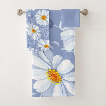 Spring Summer White Flower Blue Pattern Bath Towel Set - spring gifts beautiful diy spring time new year
