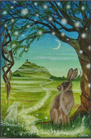 Hare Print  Spirit Path to Avalon Glastonbury by eveningstardust, $20.00