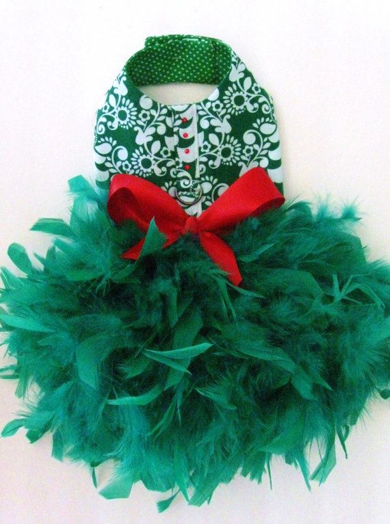 Evergreen Damask Feather Harness Dog Dress  Christmas by KOCouture