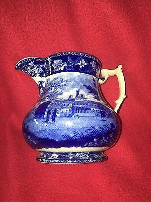 Historical-Staffordshire-New-York-City-Hall-NY-Hospital-Rare-Form-Jug-1825