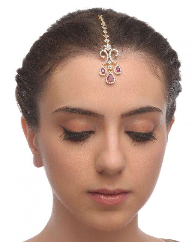 Chandelier Style Maang Tikka with Rose Stone Drop - Head Piece & Maang Tikka - Accessories
