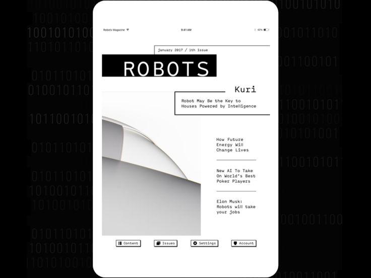 Robots Magazine. Magazine concept for iPad by Kateryna Mykhailova