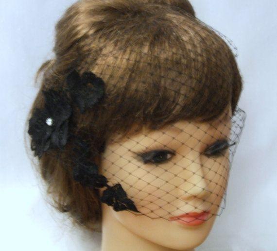 Black Birdcage veilBlusher veil with Motif9 by Misseleganceyveils