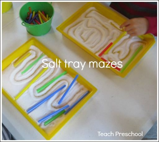 Work on those prewriting skills and a little engineering too with salt tray mazes!