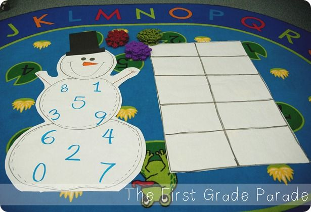 Easy number game - throw the snowflake, make the number on the giant ten frame.  Easy to use with any theme!